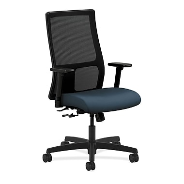 HON Ignition Mid-Back Mesh Task Chair Center-Tilt with Adjustable Arms, Cerulean Fabric