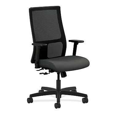 HON Ignition Mid-Back Mesh Task Chair Center-Tilt with Adjustable Arms, Iron Ore Fabric