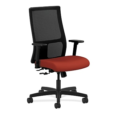 HON Ignition Mid-Back Mesh Task Chair Center-Tilt with Adjustable Arms, Poppy Fabric
