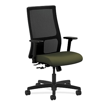 HON Ignition Mid-Back Mesh Task Chair Center-Tilt with Adjustable Arms, Olivine Fabric