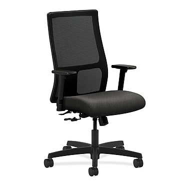HON Ignition Mid-Back Mesh Task Chair Center-Tilt with Adjustable Arms, Gray Fabric