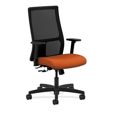 HON Ignition Mid-Back Mesh Task Chair Center-Tilt with Adjustable Arms, Tangerine Fabric