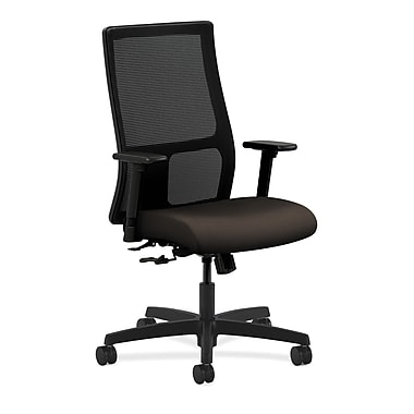 HON Ignition Mid-Back Mesh Task Chair Center-Tilt with Adjustable Arms, Espresso Fabric