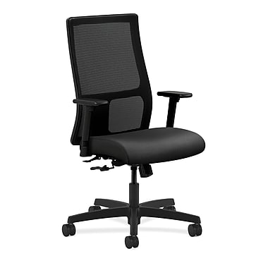 HON Ignition Mid-Back Mesh Task Chair Center-Tilt with Adjustable Arms, Onyx Fabric