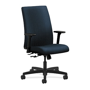 HON Ignition Mid-Back Task Chair Center-Tilt with Adjustable Arms, Blue Fabric