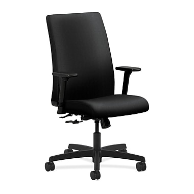 HON Ignition Mid-Back Task Chair, Center-Tilt, Adjustable Arms, Black Fabric