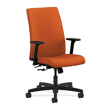 HON Ignition Mid-Back Task Chair Center-Tilt with Adjustable Arms, Tangerine Fabric