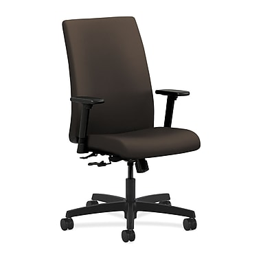 HON Ignition Mid-Back Task Chair Center-Tilt with Adjustable Arms, Espresso Fabric