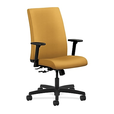 HON Ignition Center-Tilt with Adjustable Arms Mid-Back Task Chair, Mustard Fabric