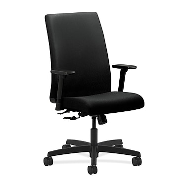 HON Ignition Center-Tilt with Adjustable Arms Mid-Back Task Chair, Black Fabric