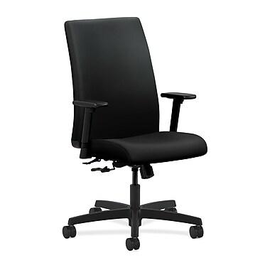 HON Ignition Center-Tilt with Adjustable Arms Mid-Back Task Chair, Black Polyurethane