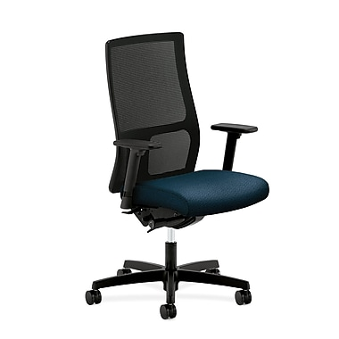 HON Ignition Mid-Back Task Chair Synchro-Tilt with Adjustable Arms, Blue Fabric