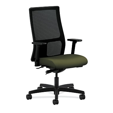 HON Ignition Synchro-Tilt with Adjustable Arms Mid-Back Mesh Task Chair, Olivine Fabric