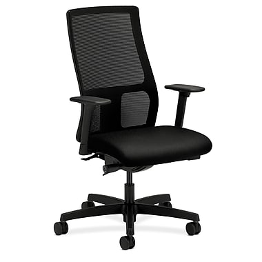 HON Ignition Mid-Back Task Chair Synchro-Tilt with Adjustable Arms, Black Fabric