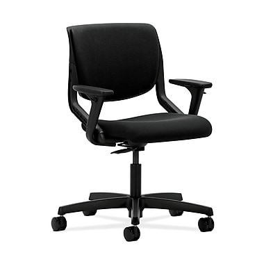HON Motivate Task Chair, Upholstered Back, Adjustable Arms, Onyx Shell, Black Fabric
