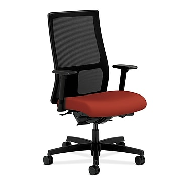 HON Ignition Synchro-Tilt Mid-Back Mesh Task Chair, Back Angle Adjustable Arms, Poppy Fabric