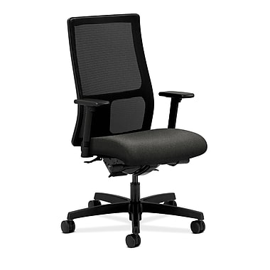 HON Ignition Mid-Back Task Chair Synchro-Tilt with Adjustable Arms, Gray Fabric