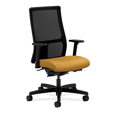 HON Ignition Synchro-Tilt Mid-Back Mesh Task Chair, Back Angle Adjustable Arms, Mustard Fabric