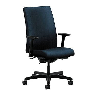 HON Ignition Mid-Back Task Chair, Upholstered, Synchro-Tilt, Back Angle, Adjustable Arms, Confetti Blue Fabric