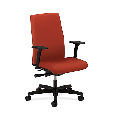 HON Ignition Mid-Back Task Chair Synchro-Tilt, Back Angle Adjustable Arms, Poppy Fabric