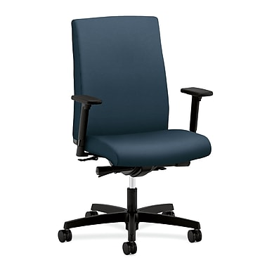 HON Ignition Mid-Back Task Chair Synchro-Tilt, Back Angle Adjustable Arms, Cerulean Fabric