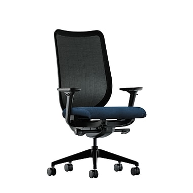HON Nucleus Synchro-Tilt Knit Mesh Back Task Chair with Seat Glide Adjustable Arms, Blue Fabric