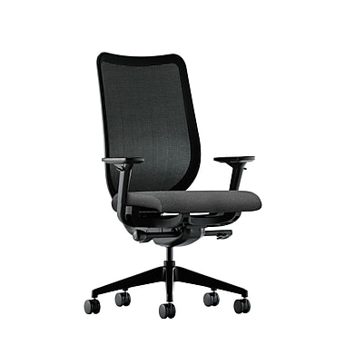 HON Nucleus Synchro-Tilt Knit Mesh Back Task Chair with Seat Glide Adjustable Arms, Gray Fabric