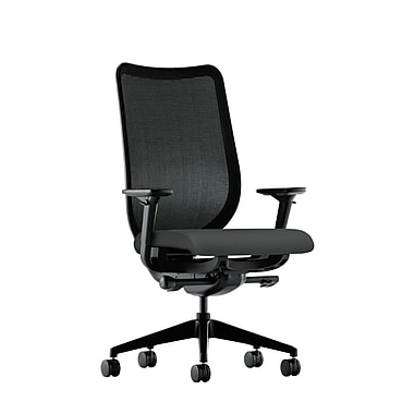 HON Nucleus Synchro-Tilt Knit Mesh Back Task Chair with Seat Glide Adjustable Arms, Iron Ore Fabric