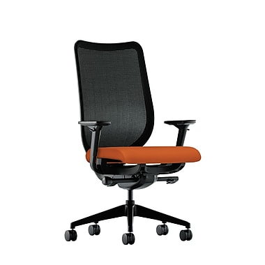 HON Nucleus Synchro-Tilt Knit Mesh Back Task Chair with Seat Glide Adjustable Arms, Tangerine Fabric
