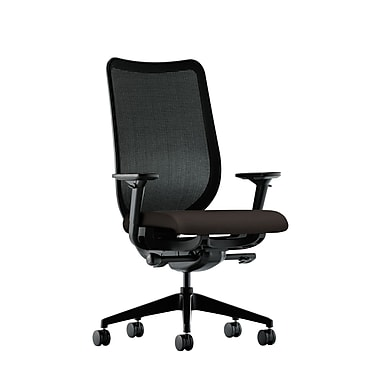 HON Nucleus Synchro-Tilt Knit Mesh Back Task Chair with Seat Glide Adjustable Arms, Espresso Fabric