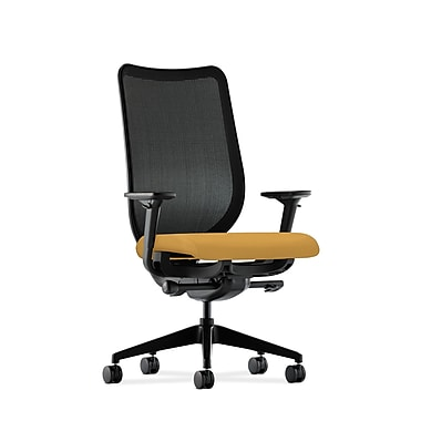 HON Nucleus Synchro-Tilt Knit Mesh Back Task Chair with Seat Glide Adjustable Arms, Mustard Fabric