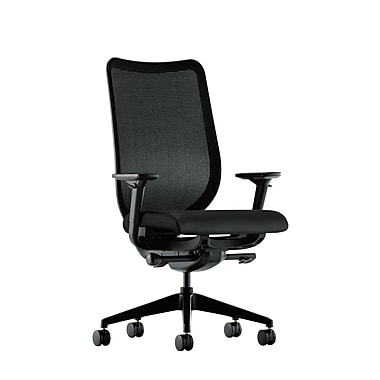 HON Nucleus Synchro-Tilt Knit Mesh Back Task Chair with Seat Glide Adjustable Arms, Black Polyurethane