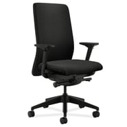 HON Upholstered Back Task Chair with Synchro-Tilt Polyester Fabric Seat Glide, Black
