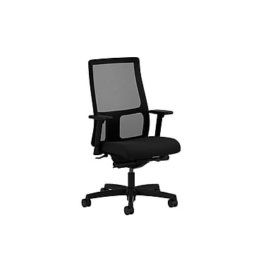HON Ignition Low-Back Mesh Task Chair, Synchro-Tilt, Back Angle, Adjustable Arms, Black Fabric