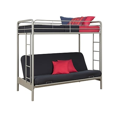 DHP Twin Over Futon Bunk Bed, Silver