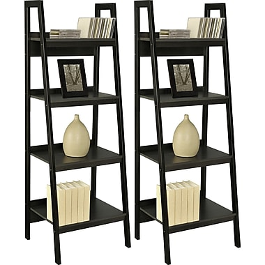 Dorel Ladder Bookcase Bundle, Set of 2, Black