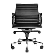 Wobi Office Reed Low-Back Leather Chair; Black