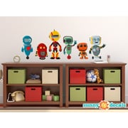 Sunny Decals 6 Piece Cute Robot Fabric Wall Decal Set; Large