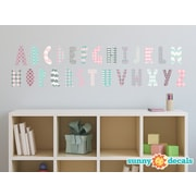 Sunny Decals Modern Alphabet Fabric Wall Decal; Pink/Grey/Light Blue