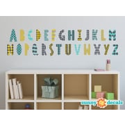 Sunny Decals Modern Alphabet Fabric Wall Decal; Orange/Grey/Turquoise/Black