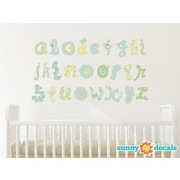 Sunny Decals Script Alphabet Fabric Wall Decal; Blue/Green