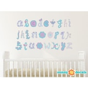 Sunny Decals Script Alphabet Fabric Wall Decal; Pink/Purple