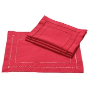 Xia Home Fashions Handmade Double Hemstitch Easy Care Placemat (Set of 4); Red