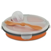 Smart Planet Round Collapsible Meal Kit with Spork; Orange
