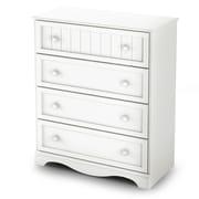 South ShoreMD – Commode à 4 tiroirs de la collection Savannah, blanc pur, 41,5 haut. x 35,5 larg. x 17,5 prof. (po)