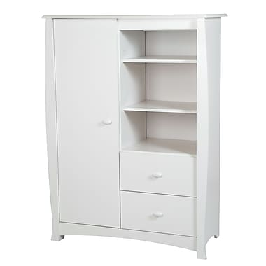 South Shore Beehive Armoire with Drawers, Pure White, 39.5