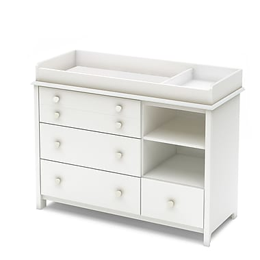 South Shore – Table à langer de la collection Little Smileys, blanc pur, 36,75 haut. x 47,25 larg. x 19,5 prof. (po)