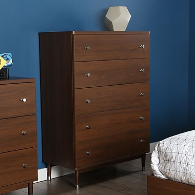 South Shore Olly Mid-Century 5-Drawer Chest, Brown Walnut, 35.5