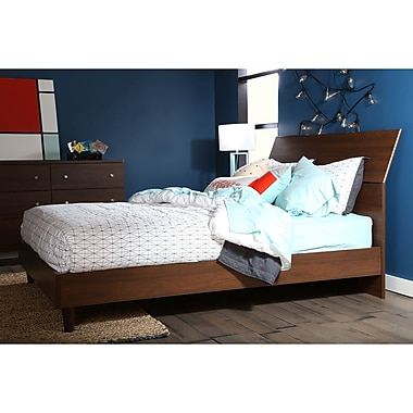 "South Shore Olly Queen Platform with Headboard (60""), Brown Walnut, 81"