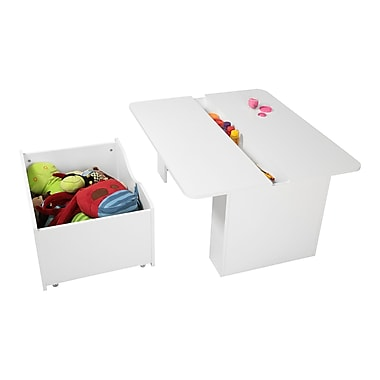 South Shore Storit Kid Activity Table with Toy Box on Wheels, White, 39.5